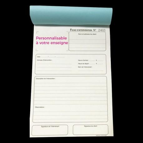 Carnet Fiche d'intervention A5 Personnalisé- (15x21cm)