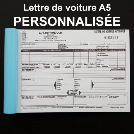 Lettre de voiture nationale A5 personnalisé - (15x21cm)