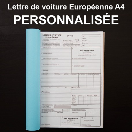 Lettre de voiture Européenne A4 personnalisé - (21x29.7cm)