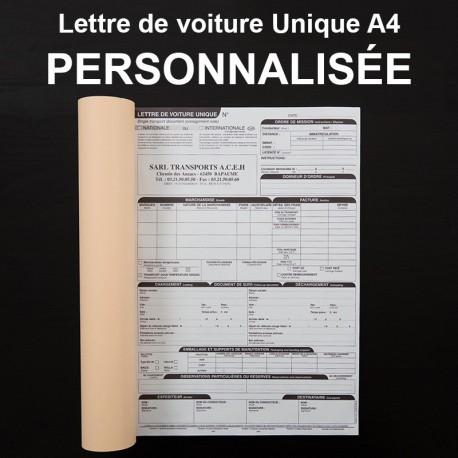 Lettre de voiture Unique A4 personnalisé - (21x29.7cm)
